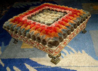 Antique Victorian Square Ottoman Footstool Needlepoint Carpet Tapestry c1880
