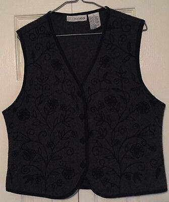 Chrysantheme Vest Large Embroidered Wool Blend