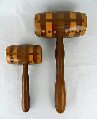 2 Decorative Wood Hammer Mallet Set Lot Brown Pair Striped Dots Pressed Matching