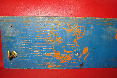 1940 s wood Elsie the borden cow advertising sign plaque w/4 wooden milk bottles
