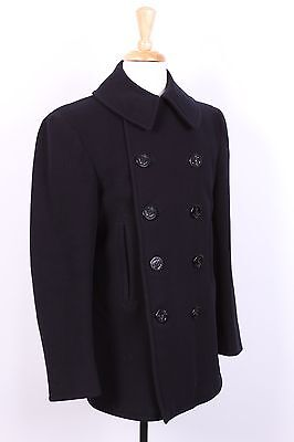 Vtg Wwii 10 Usn Us Navy 10 Button Wool Pea Coat Usa Size 36