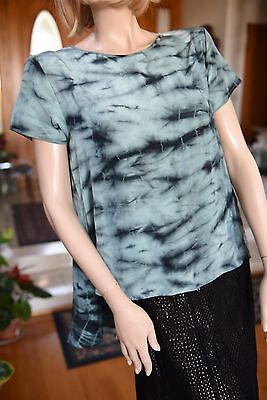 Lim's 100% Silk Hand Tie-Dye Asymmetry Top One Size Green Base