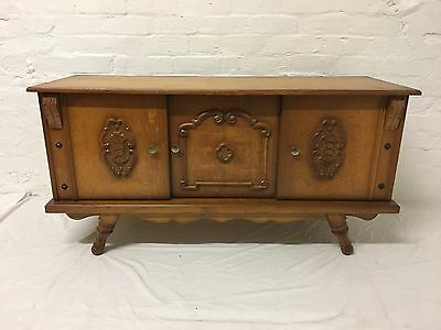 Vintage French Golden Oak Small Sideboard Ornate Carved Detail
