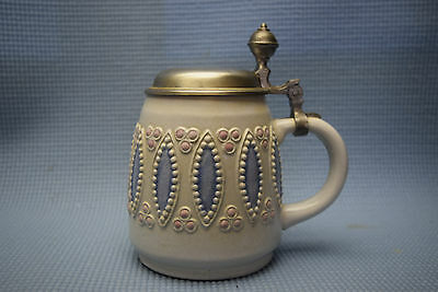 Vintage Beer Stein/Tankard  -½ liter capacity - Stoneware with Blue and Pink