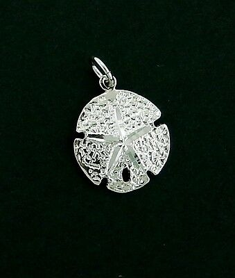 Sand Dollar Charm/ Pendant in Sterling     3/D  Solid  Non Tarnishing