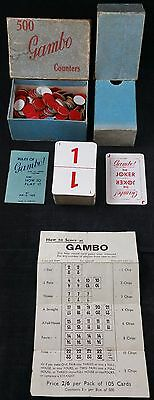 "Vintage Gambo Card Game With Rare ""500 Gambo Counters"" Add on c1920"