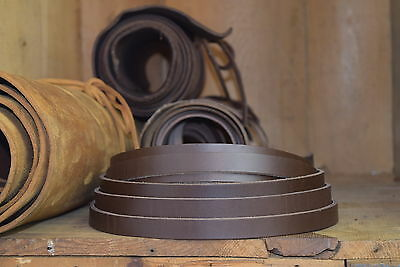 127cm LONG 2-2.4mm THICK DARK BROWN COW HIDE LEATHER STRAP VEG TAN VARIOUS WIDTH