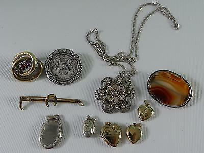 (ref165BX) Collection of vintage antique jewellery inc silver + rolled gold