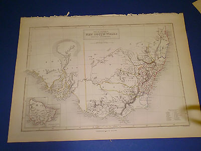 100% Original New South Wales Australia  Map By Black/hall C1844 Vgc Low Postage