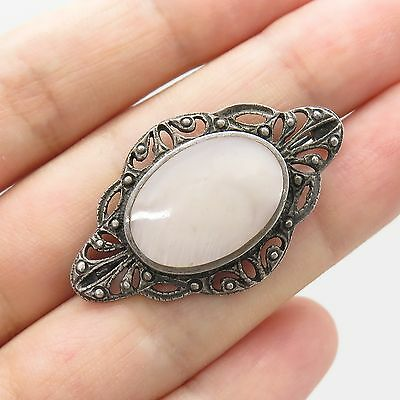 Vtg 925 Sterling Silver Real Mother of Pearl Pin Brooch