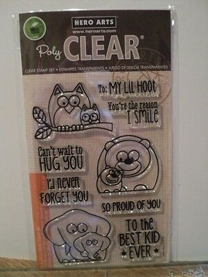 Hero Arts Poly Clear Clear Stamps Set Animal Phrases Cl755 Bnip *look*