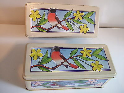 2 x Empty Metal Collectable Cadburys Tins With Birds / Tree Design From 1993