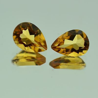 5 PIECES OF 5x3mm PEAR-FACET NATURAL BRAZILIAN GOLDEN CITRINE GEMSTONES
