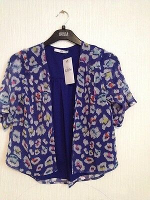 BNWT M&S Girls Open Front Top  Size 7-8 Years