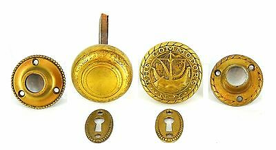 THE COMMODORE HOTEL NYC-(2) VINTAGE BRASS DOOR KNOBS-Rare Complete Set !!!!