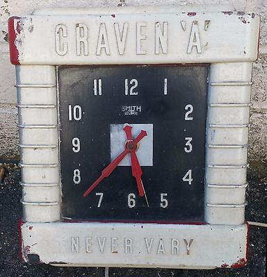 "Vintage Smiths Sectric Clock Advertising Craven A Cigarettes ""Never Vary"""