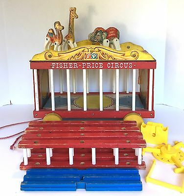 Vintage 1960's Fisher Price Wooden Circus Wagon Playset w Animals #900