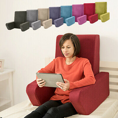 Una Wool Feel Bed Reading Foam Cushion Fold Away Back Support Pillow Arm Rest TV