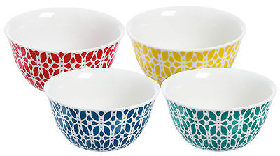 Typhoon Lotus Rice Bowls Porcelain Multi-Colour Set of 4 Oriental Rice Bowls