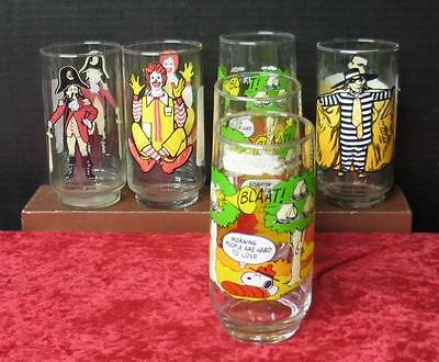 Vintage McDonald Glasses  Snoopy Collection, Hamburger Captain Crook
