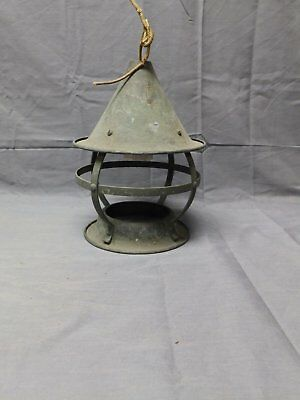 Vtg Arts Crafts Copper Porch Ceiling Light Fixture Shabby Country Cabin  2048-16