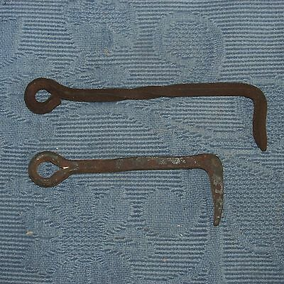 2 Antique Iron Blacksmith Hand Made Gate Latch Hooks