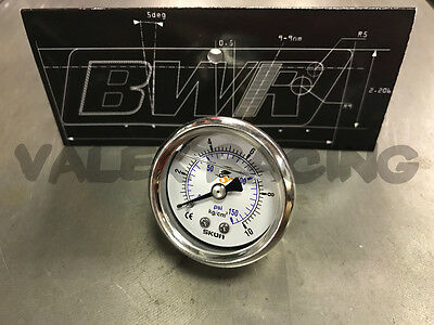 Blackworks Racing (BWR) Liquid Filled Fuel Pressure Gauge 1/8npt