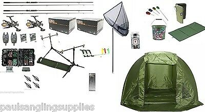 Grandeslam Full Carp Fishing Set Up Kit Rods Reels Alarms Tackle Mat  & Shelter