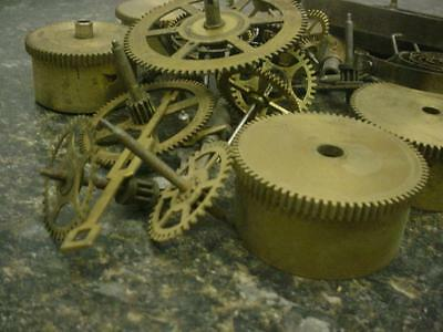 2.40 lbs Watchmaker  Alarm Mantel Clock Gears Parts Steam Punk AlteredArt E434