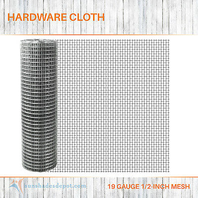 GALVANIZED HARDWARE CLOTH 19 Gauge 1/2 Inch Poultry Netting Mesh ...