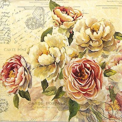4 Single Lunch Party Paper Napkins for Decoupage Decopatch Craft  Vintage Roses
