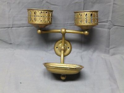 Vtg Decorative Brass Double Cup Holder Soap Dish Old Bathroom Fixture 2057-16