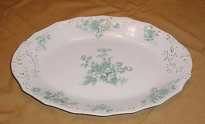 "W H Grindley Chatsworth 17"" Serving Platter Blue Green with Gold ca. 1900"