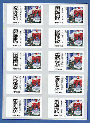 US Holiday Window SSK Stamp a pane of 10 ATM/APC/CVP Forever postage label 2016