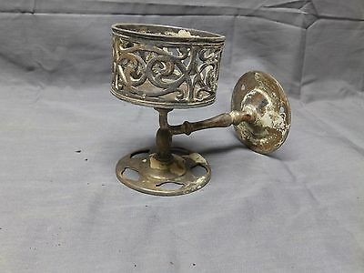 Antique Nickel Brass Cup Toothbrush Holder Old Vintage Bathroom Fixture 2060-16