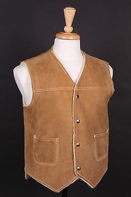 "Vtg ""Towncraft"" Western Suede Leather Vest Usa Mens Medium"