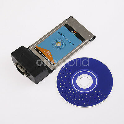 1PC PCMCIA To RS232 RS-232 Notebook Serial W/ Driver CD I/O Card