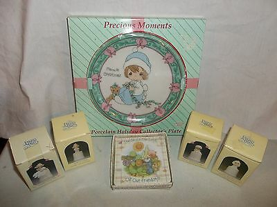 LOT of 6 PRECIOUS MOMENTS: 1995 Meowie Christmas Plate, 4 Thimbles, Mini picture