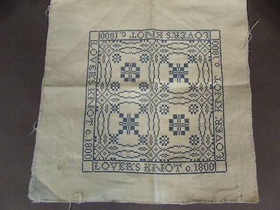 Antique Vintage Blue Embroidered Lover's Knot C 1800 Sampler