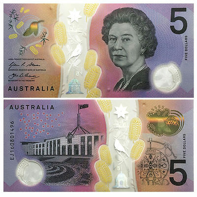 Australia 5 Dollars, 2016, Bank Note -New, Crisp, Uncirculated Clear Polymer