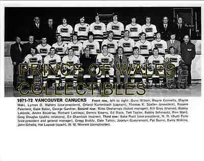 1972 Vancouver Canucks Team Photo 8X10