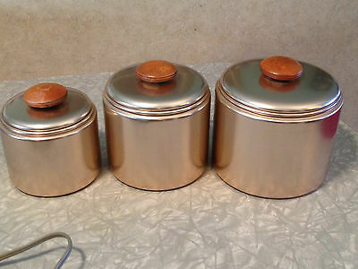 Vintage Set of 3 Pink Aluminum Canisters 50's