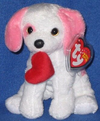 TY  AMORE the PINK and WHITE VALENTINES DOG BEANIE BABY - MINT with MINT TAG
