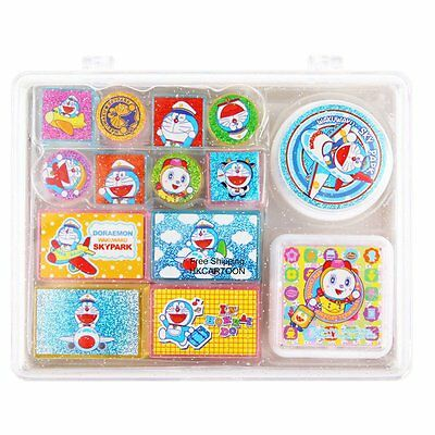 Japan Doraemon Chitose Airport Limited Stamp Gift Set-Stamp+Colors Ink Pads