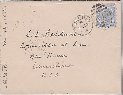 1884 QV TORQUAY MARITIME COVER WITH SG157 2½d STAMP SENT TO CONNECTICUT CAT £40