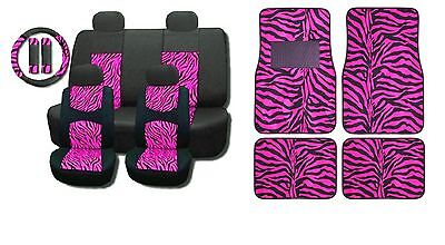 New Hot Pink Mesh 15Pc Full Set Car Seat Covers And Floor Mats