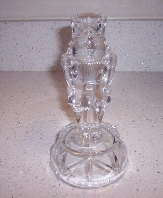 Striking Christmas Nutcracker Soldier Clear Glass Candle Stick Holder