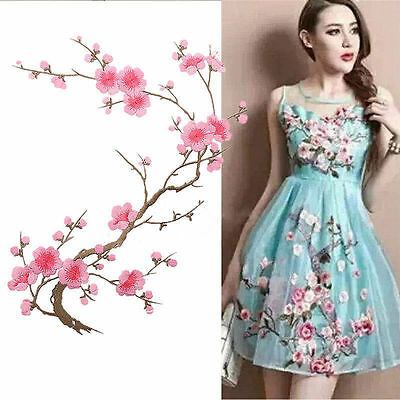 UK Embroidered Plum Blossom Flower Patch Iron on Applique Motif Craft Hot