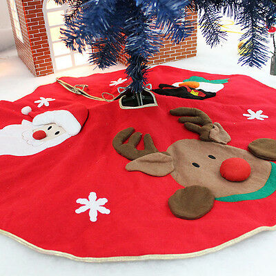 Xmas Santa Claus Snowman Christmas Tree Skirt Stand Ornaments Party Decor Carpet