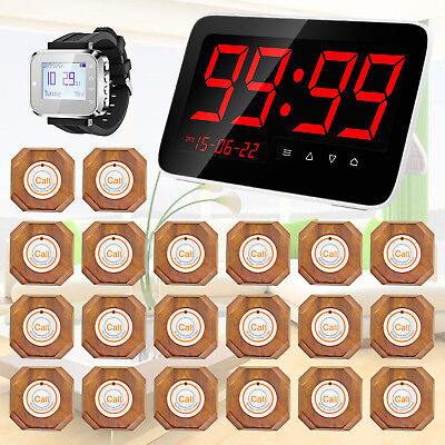 20pcs Call Pagers Button,KERUI Waiter Service Calling System LCD Receiver Watch